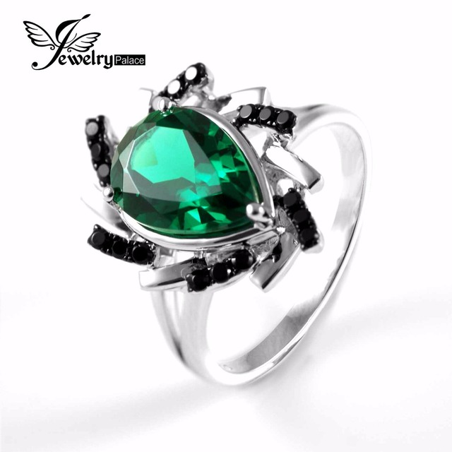 Brilliant Cut  Women's Emerald Spinel Cocktail Ring Brand Vintage Jewelry Solid 925 Sterling Silver Free Shipping Christmas Gift