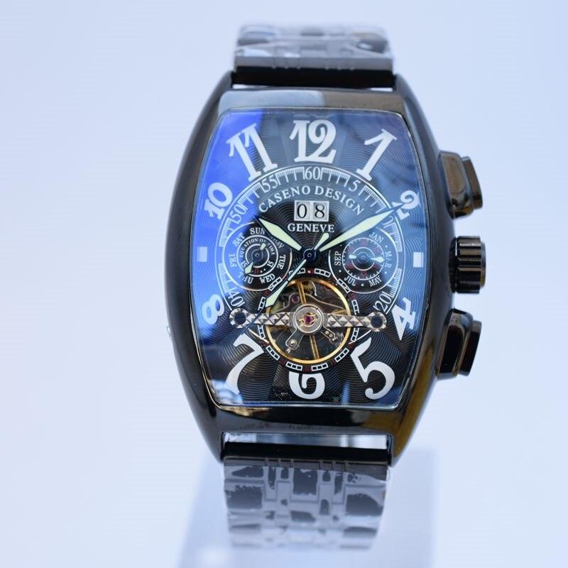 Caseno توربيون الهيكل العظمي التلقائية الميكانيكية رجالي ساعات أعلى ماركة فاخرة العسكرية الرياضة ووتش ستانلس ستيل ذكر الساعات-في الساعات الميكانيكية من ساعات اليد على  مجموعة 3