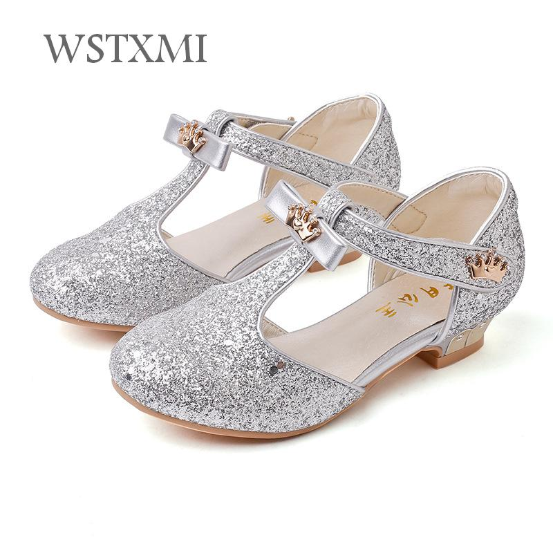 Fashion Girl Princess Shoes Sandals for Kids Glitter Leather Sequins Low-heeled Children Party Dance Dress Shoes Girls Wedding kids glitter sandals elegant princess dance wedding dance party leather shoes heel student