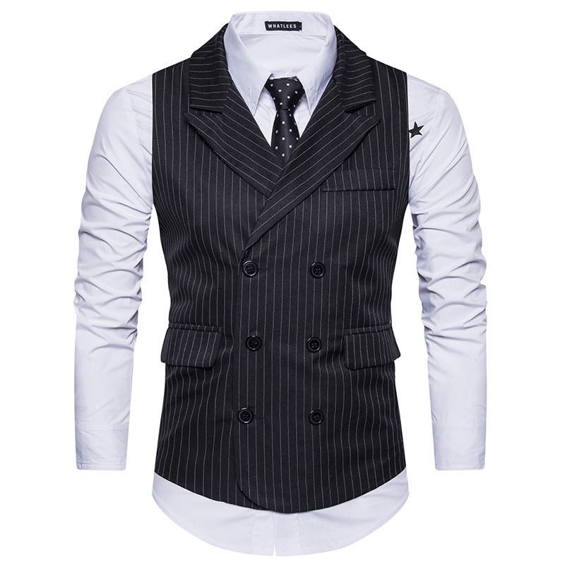 Mens Double Breasted Vest Men Dress Suit Vest Men Formal Grey Vest Suit Gilet Vest Slim Business Jacket Tops Homme Spring