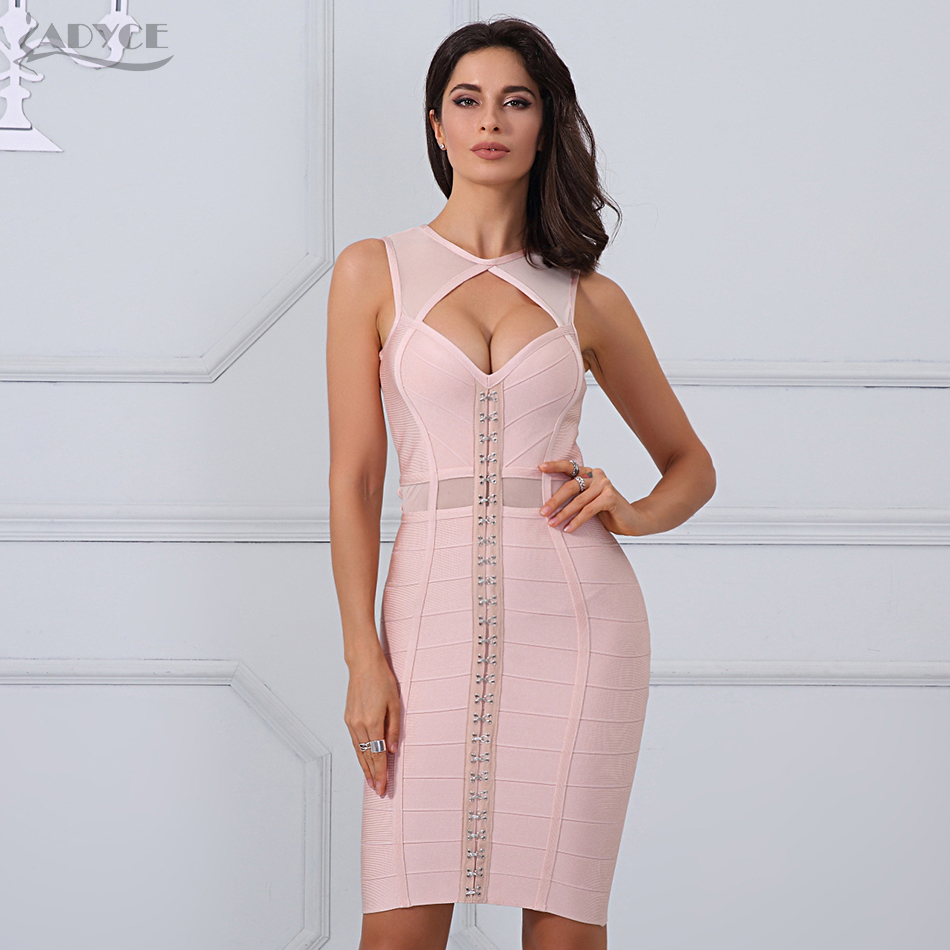 Adyce 2019 New Summer Bandage Dress Apricot Sexy Sleeveless Me Bodycon Dress Clubwears Women Celebrity Party