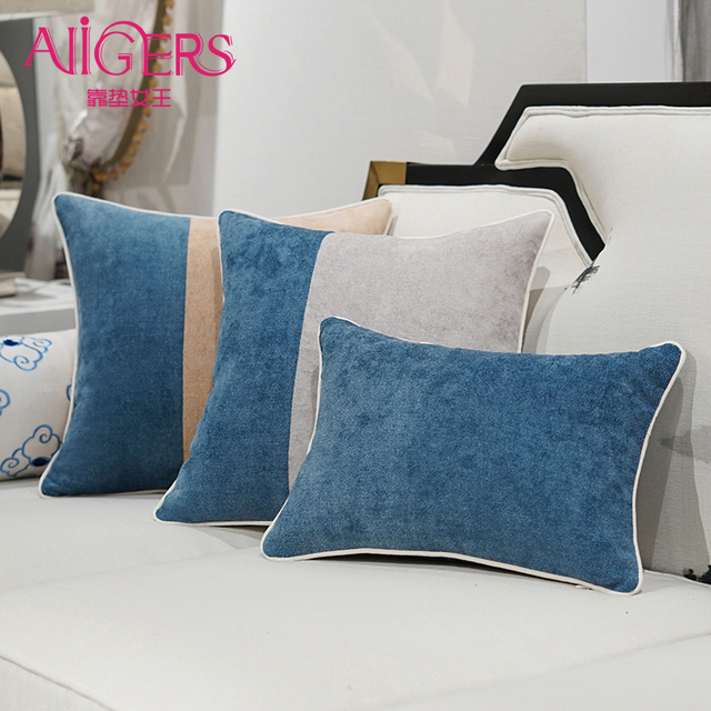 Avigers Luxury Blue Velvet Cushion Cover American Patchwork Style ...