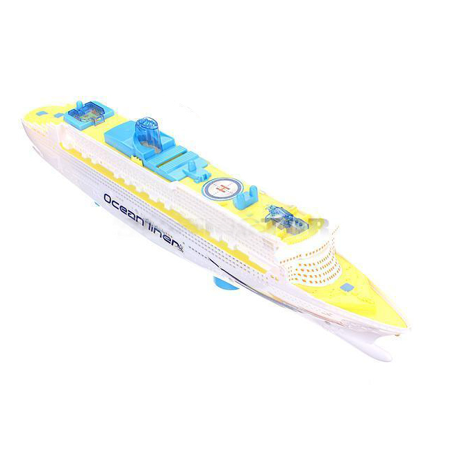 Ocean Liner Cruise Ship Boat Electric Toy Flashing LED Lights Sounds Kids Child Blue+Yellow