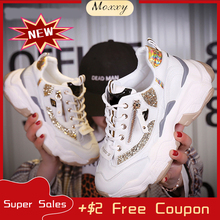 1448fe7cb 2019 Autumn Ladies Glitter Chunky Sneakers Platform Casual Shoes Dad dames Sneakers  Women Shoes Trainers basket