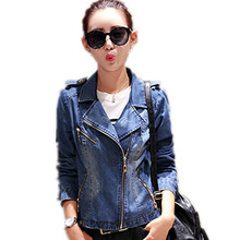 Free Shipping! Autumn/Winter Women's Oblique Zipper Blue Denim Jacket, Female Slim Short Fashion Tops with Epaulette M L XL XXL