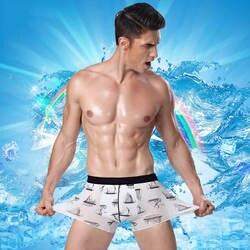 Для мужчин льда шелковое боксер брюки широкий эластичный пояс Плоские Брюки средней посадки решетки U выпуклый дизайн пот-absorbe LVFAN L004