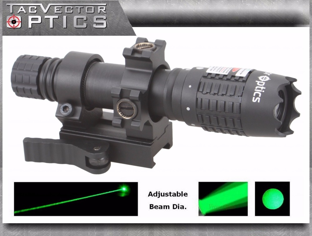Vector Optics Magnus Green Laser Flashlight Designator Adjustable Beam Focus Sight with Scope Mount Ring fit Night Vision xl nxf rg 5mw green laser gun sight w weaver mount led flashlight black 3 x cr 1 3n