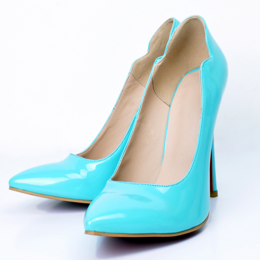 Roller pump shoes - Women Shoes New Sky Blue Woman Shoes Pointed Toe Stiletto Heels Pumps Eu34 45