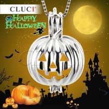 Cluci 925 серебро жемчужное ожерелье Хэллоуин Тыква дизайн клетка кулон, Новогодние товары/Хэллоуин Шарм
