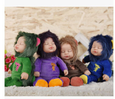 Hot-vente poupée vinyle reborn bébé enfant jouet poupée artificielle fille cadeau ours/lapin/Lion Animal poupée