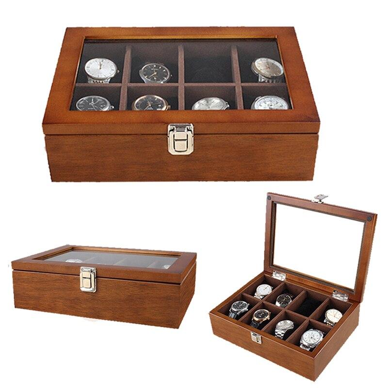 2019 nouveau boîtier de montre en bois 8 grilles boîtier pour heures gaine pour heures boîte pour heures montre