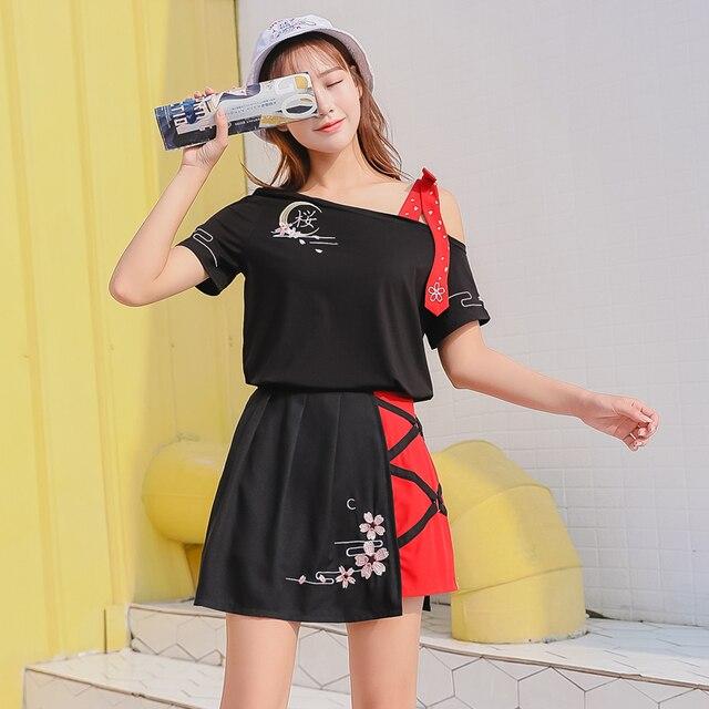 f2ada0ef3ba4b1 Taille haute un mot irrégulière Ins jupe femmes jupes dames Kawaii femme  coréenne Harajuku vêtements de sport pour les