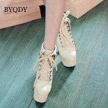 BYQDY Elegant Ultra High Heels Platform Spring Autumn Boots Rivets Glitter Lace up Woman Ankle bota feminina Dropshipping