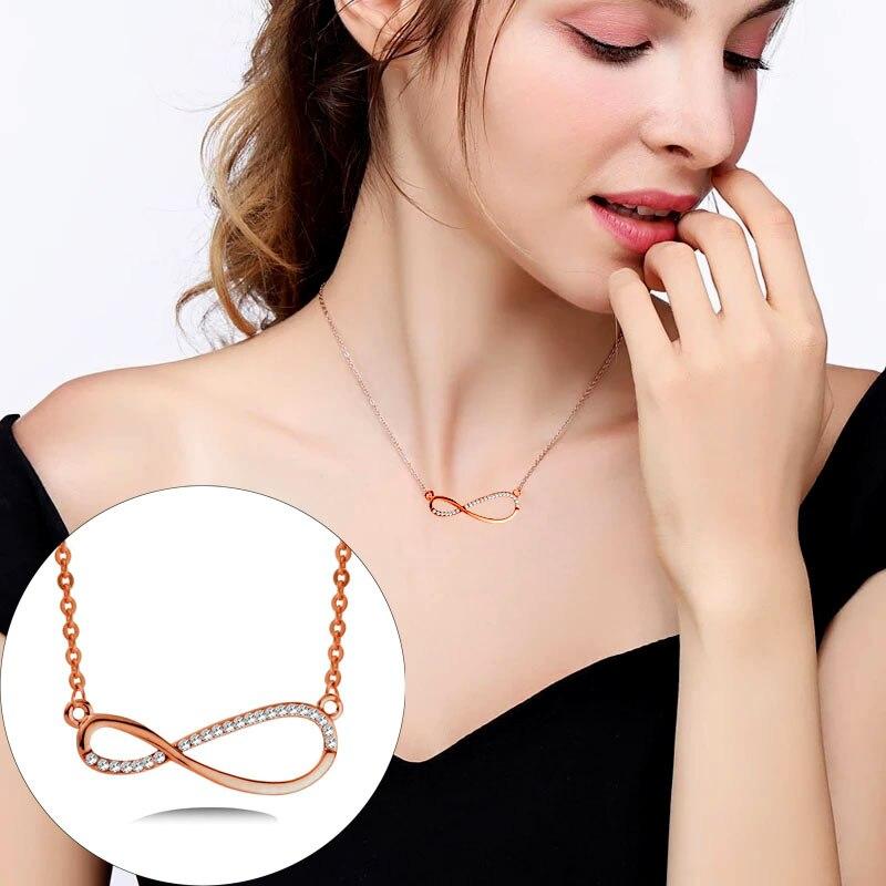 SINLEERY Briliáns Crystal Infinity Pendant Necklace Rose Arany / - Divatékszer