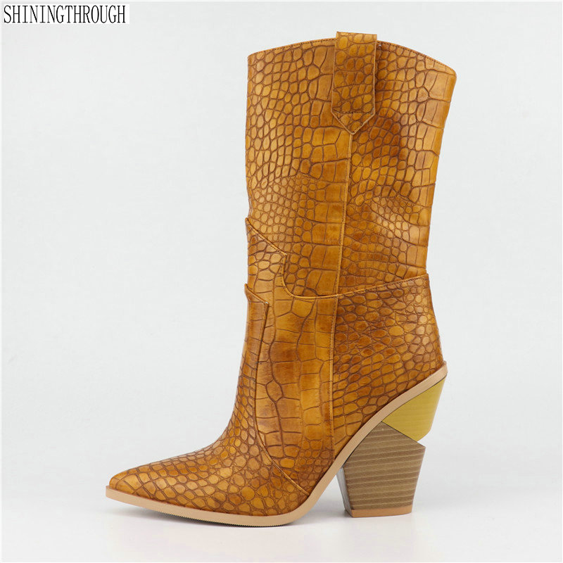 SIZE 33 46 brand embossed microfiber leather women s boots pointed toe western cowboy boots women