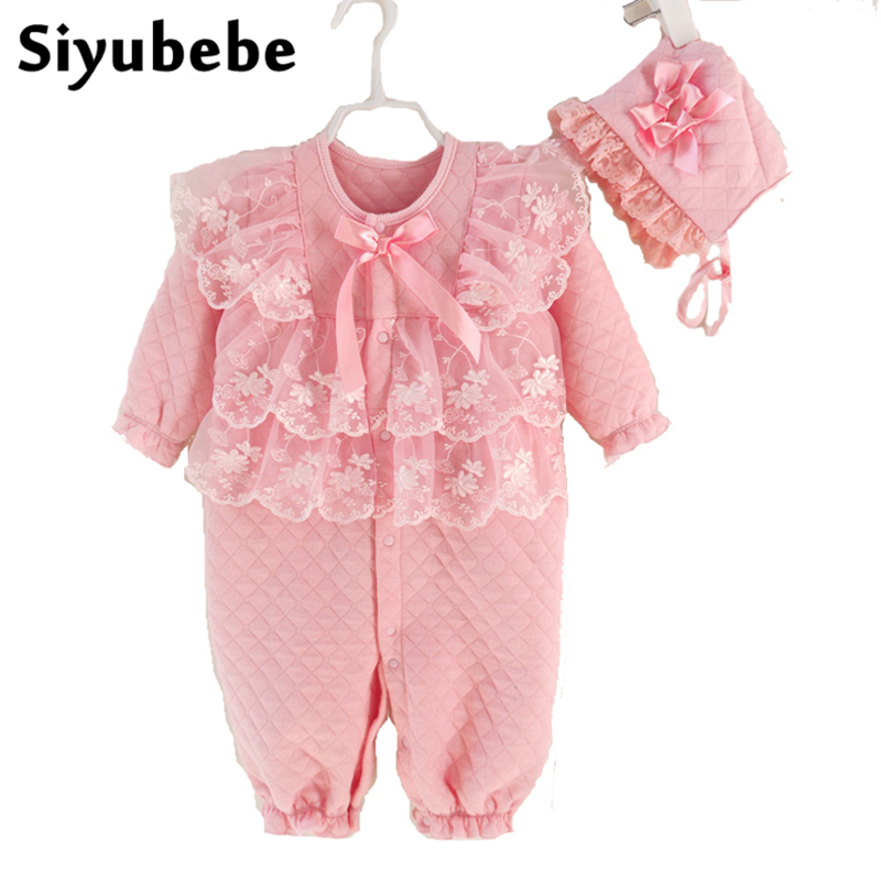 Newborn Baby Girl Clothes Sets 2017 Fashion Brand Winter Thicken Princess Lace Infant Dress Costume Cotton Baby Rompers With Hat