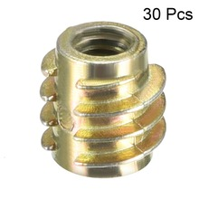 Uxcell Newest 30pcs M4 M5 M6 Threaded Insert Nuts Hex-Flush Zinc Alloy Furniture Bronze Tone Length 8mm 10mm 13mm 15mm 20mm