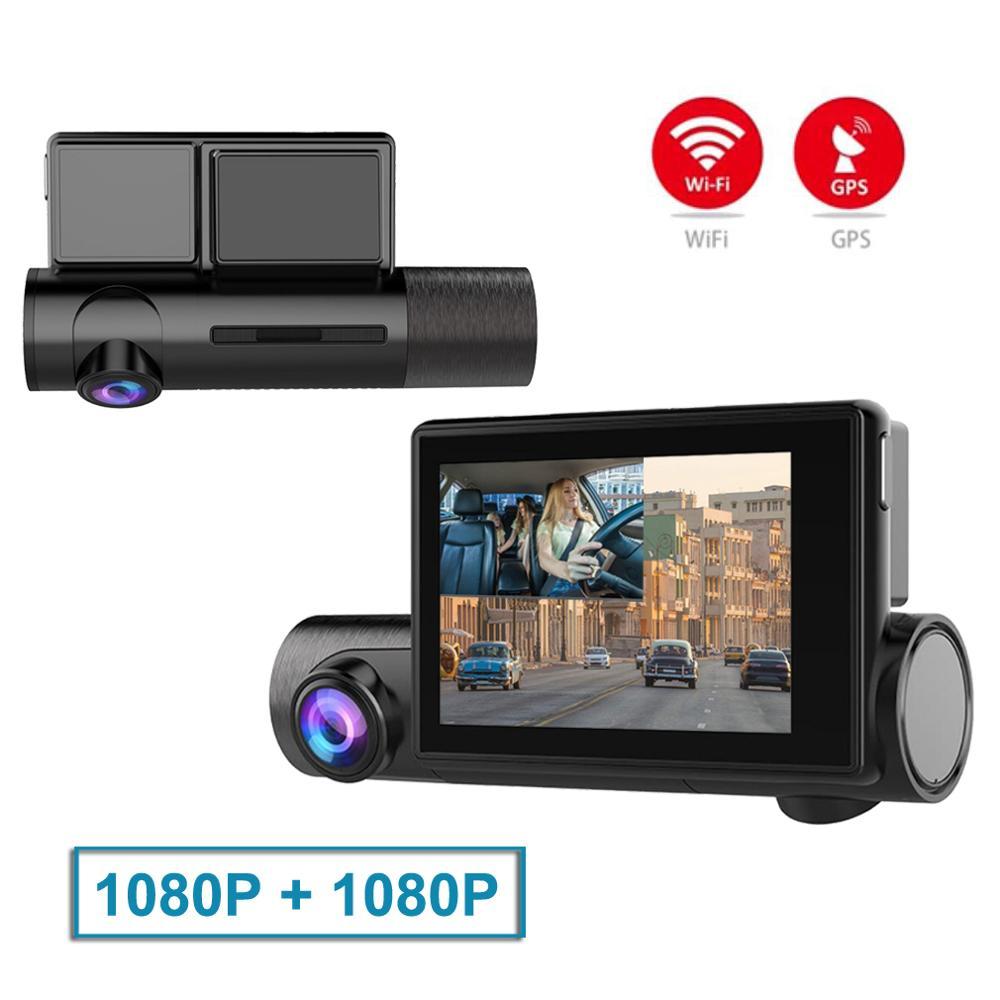ZUCZUG 3.0 ''écran tactile GPS WIFI voiture Dash Cam DVR avec avant 1080P + intérieur 1080P caméra Vision nocturne double lentille Dashcam