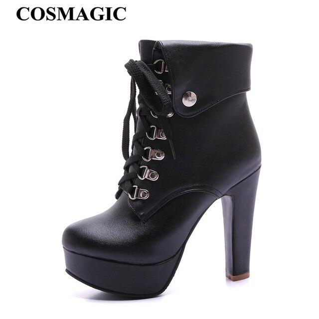 ماكياج 2019 جديد الشتاء النساء السود حذاء من الجلد للدراجات النارية عالية الكعب الدانتيل يصل القوطية الشرير منصات بوتاس موهير