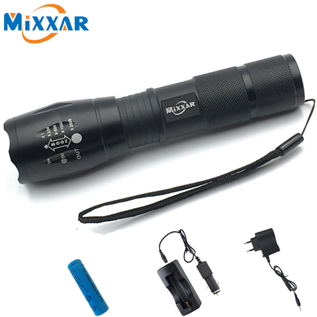ZK56 LED Flashligh CREE XM-L T6 4000LM 5 Modes Zoomable Tractical LED Torch Light With Chargers and Batteries Outdoor Hiking