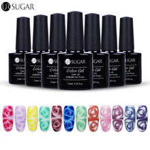 2 Bottles/Set UR SUGAR White Clear Blossom Gel Glitter Color Gel Soak Off Nail Art UV LED Lamp Gel Polish Varnish Manicure DIY