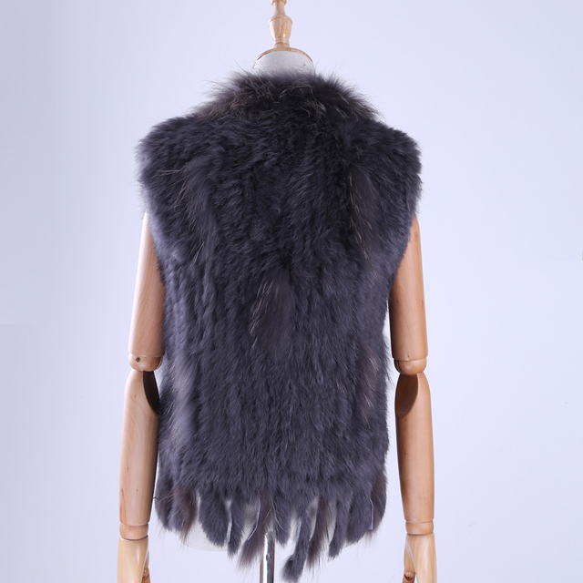 Brand New Women's Lady Genuine Real Knitted Rabbit Fur Vests tassels Raccoon Fur Trimming Collar Waistcoat Fur Sleeveless Gilet 3