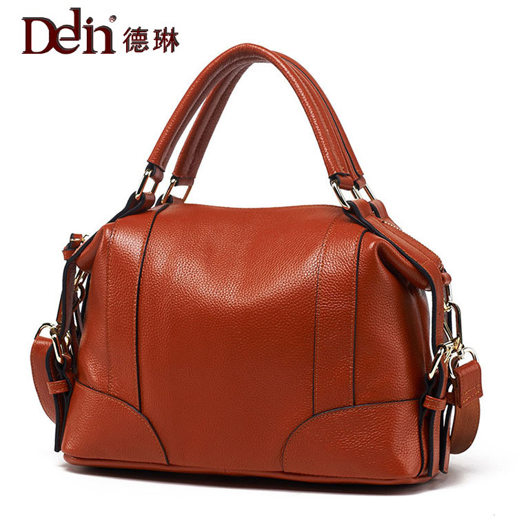 DELIN The new 2017 contracted joker handbag leather contracted commuter leather ladies' bags one shoulder aslant package fossil the commuter fs5275