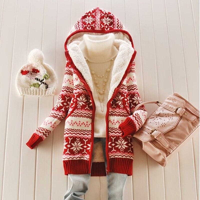 2018 suéteres de Invierno para mujer abrigo de lana de manga larga con capucha engrosamiento cálido punto cárdigan prendas de abrigo moda femenina