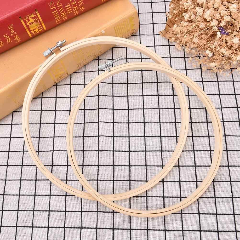 13-34 Cm Bambu Round Loop Tangan Rumah Tangga Alat Alat Jahit Bingkai Bordir Hoop Cincin DIY Needlepoint Embroidery Cross Stitch Mesin