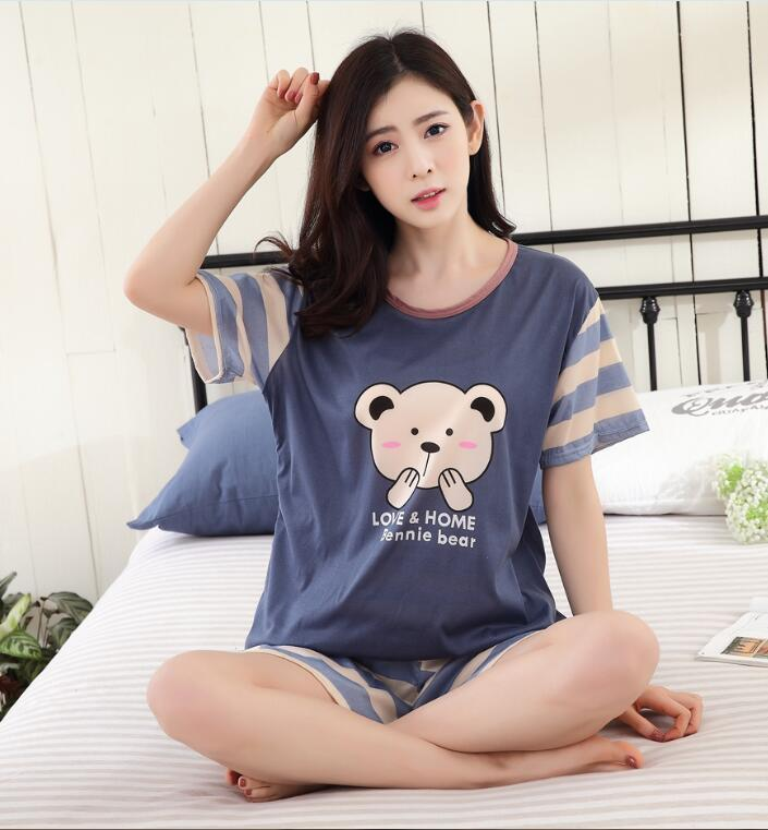 Hot Women Pajamas Sets WAVMIT Summer Short Sleeve Thin Cartoon Print Cute Sleepwear Girl Pijamas Mujer Leisure Nightgown Women