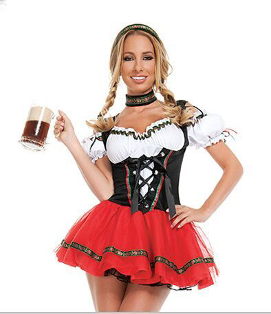 UTMEON-Red White Super Deluxe Beer Girl Costume Women Beer Wench Costume German Bavarian Beer Girl Oktoberfest Costume