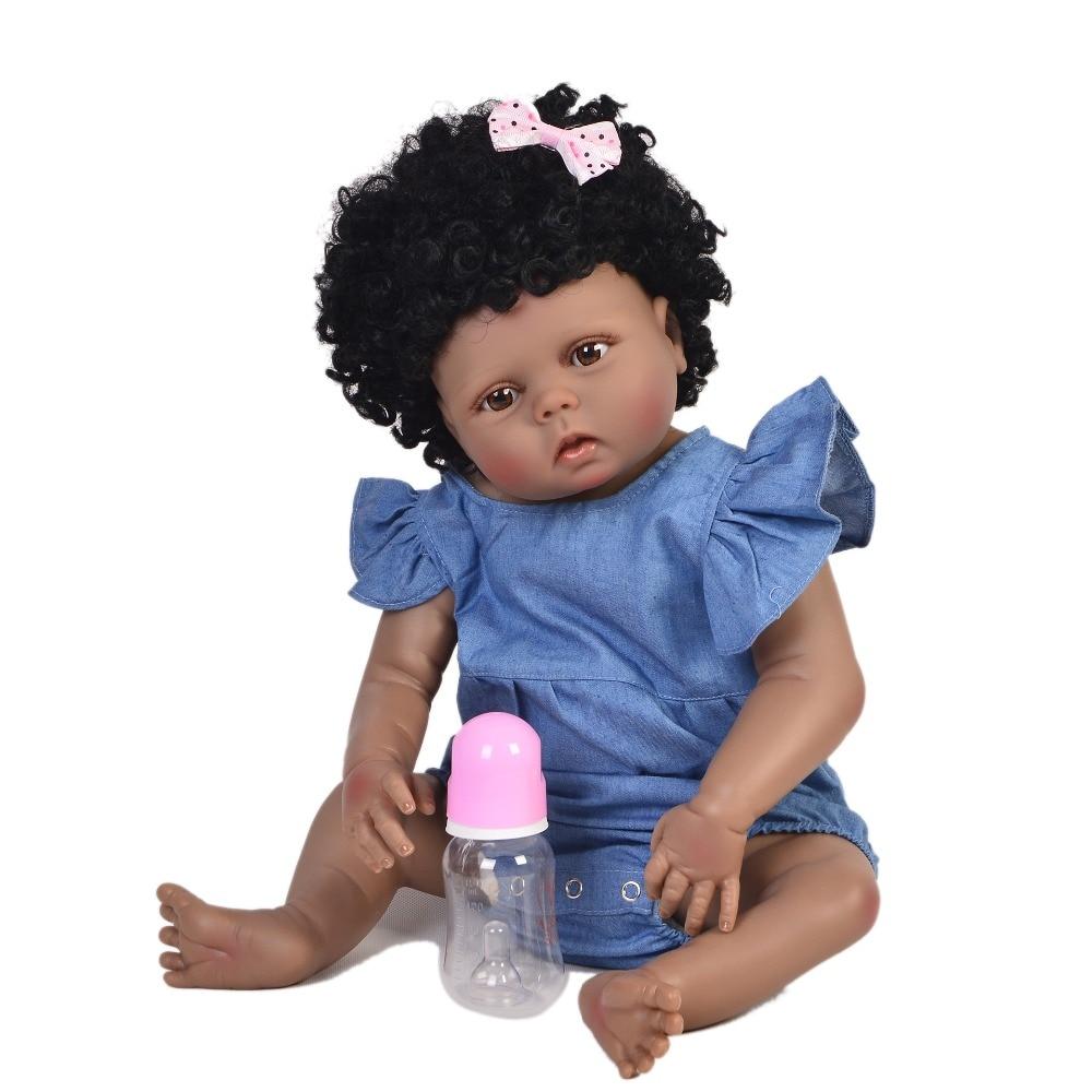 "Bebes reborn de silicone real 23""57cm full silicone reborn baby ethnic doll realistic african girl bebe boneca reborn toys gift"