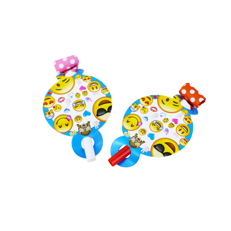 12pcs/pack Smiley Face Expression Theme Kid Birthday Party Paper Blowout For Party Supplies Decoration