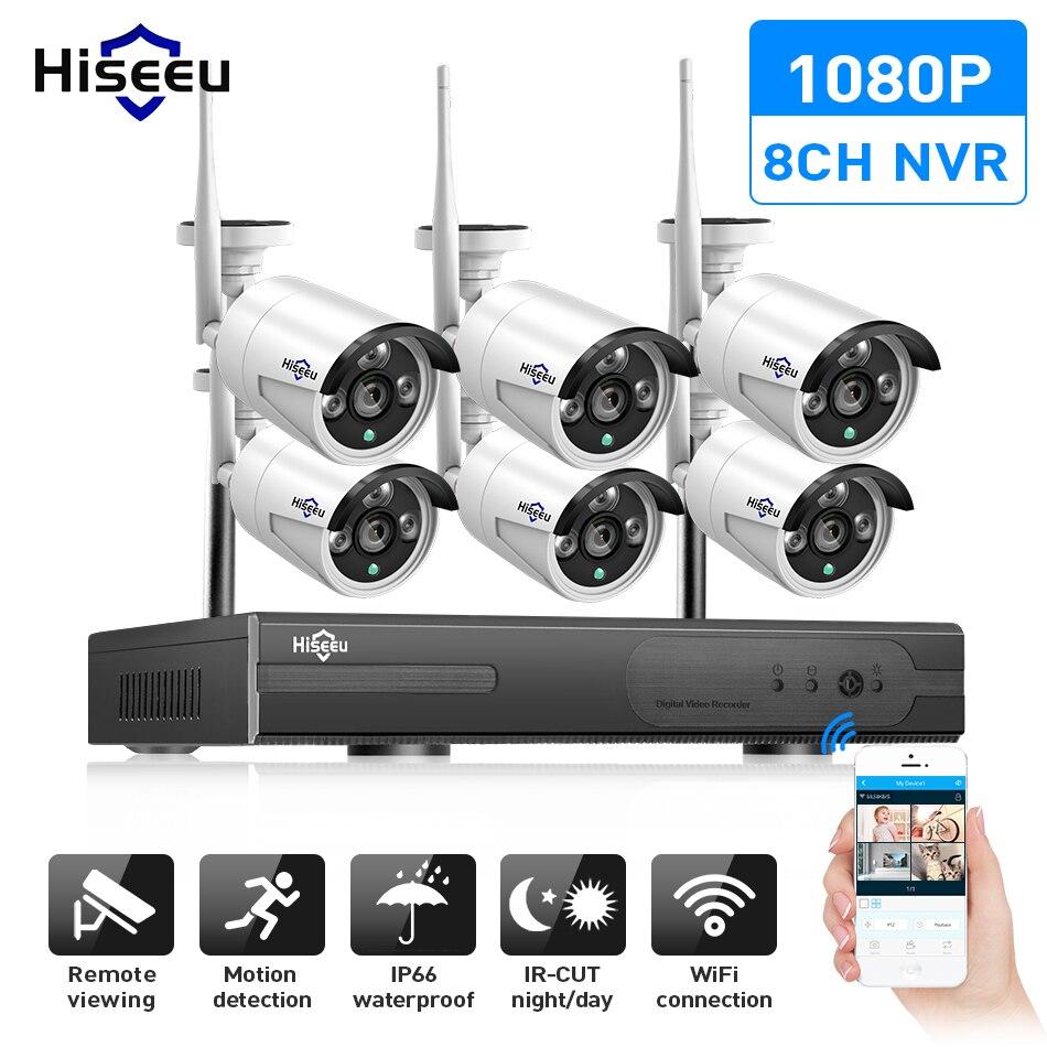 8CH беспроводного видеонаблюдения Камера Системы 6 шт. 960 P/1080 P Wi-Fi IP Камера открытый охранных системах видеонаблюдения Системы NVR комплект Hiseeu