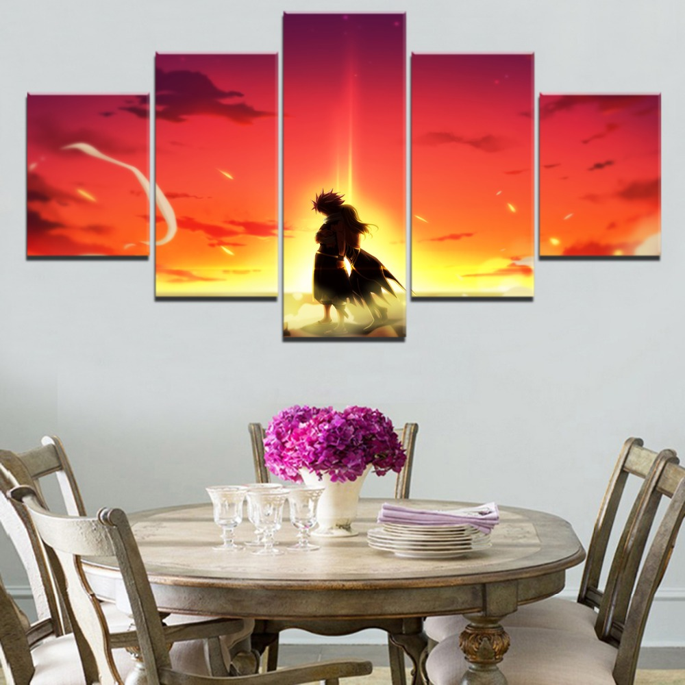 Fairy Tail Natsu Anime 5 Piece HD Print Painting Home Decor Painting For Home Decor Canvas Wall Art For Living Room Artwork in Painting Calligraphy from Home Garden