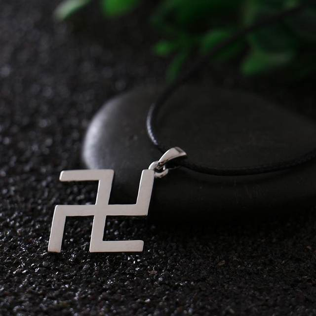 Online Shop Silver Buddhism Peace Symbol Swastika Necklace With