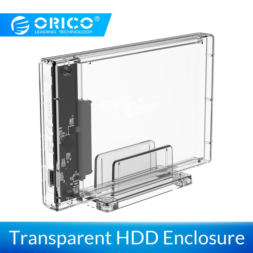 ORICO 2.5 Inch Transparent USB3.0 Hard Drive Case With Stand 5Gbps HDD Case USB C Hard Drive Case Support 10Gbps UASP