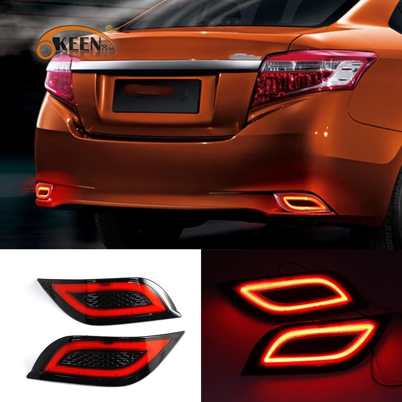 OKEEN 2pcs Car LED Tail lights For Toyota Vios 2015 2016 Rear Bumper Reflector Light Red Running Light Brake Lamp 12V Fog Lights