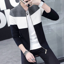 2017 Autumn Men's Casual Fashion Cardigan Patchwork Knitted Male Sweater Clothing Man's Slim Striped Knitwear Sweatercoats