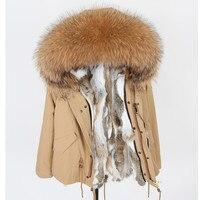 Новинка 2018 года зимние куртки енота меховой воротник кролик Мех животных теплая парка пальто для женщин