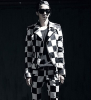 Superb Men's Fashion Checked White Black Plaids Slim Fit Jacket Coat New Cool Stage Costume New Zipper Pocket Outwear Coat