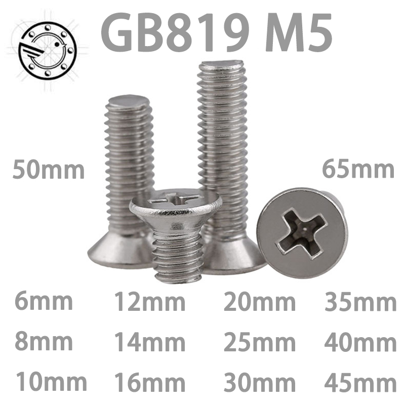 50pcs GB819 M5 Metric Thread 304 Stainless Steel flat head cross Countersunk head screw m5*(6/8/10/12/14/16/20/25/30~65) mm metric thread gb819 m2 304 stainless steel flat head cross countersunk head screw m2 3 4 5 6 8 10 12 14 16 18 20 25