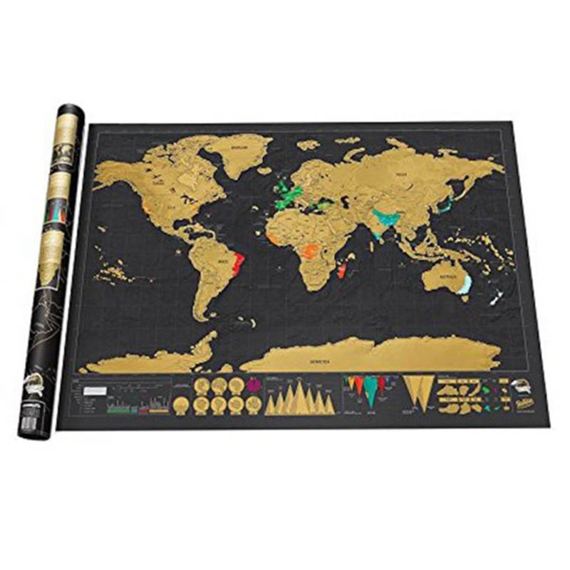 """32.5 """"X 23.4"""" Gepersonaliseerde Black Scratch Off Art Wereldkaart Poster Decor Grote Deluxe Postereditie Reizen"""