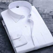 Blanc Oxford coton chemise hommes 2019 marque à manches longues mâle bouton vers le bas robe chemises solide affaires décontracté mince coupe travail Camisa 4x