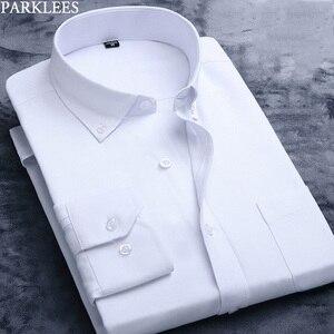 Image 1 - Weiß Oxford Baumwolle Hemd Männer 2019 Marke Langarm Männlichen Taste Unten Kleid Shirts Solide Business Casual Slim Fit Arbeit camisa 4x