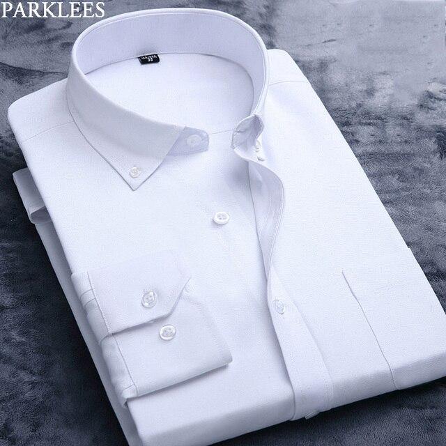 Weiß Oxford Baumwolle Hemd Männer 2019 Marke Langarm Männlichen Taste Unten Kleid Shirts Solide Business Casual Slim Fit Arbeit camisa 4x