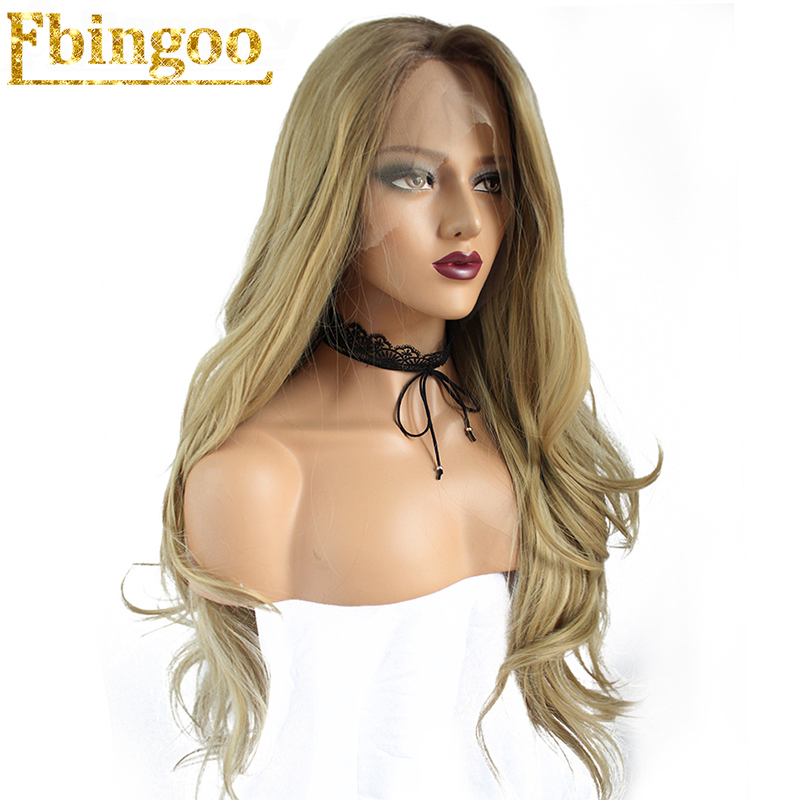 Ebingoo High Temperature Fiber Peruca 2 Tones Brown Ombre Blonde Long Body Wave Synthetic Lace front