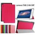 """Caso ultra slim para lenovo tab 2 a8 50 caso, flip pu tablet suporte de couro smart cover para lenovo tab 2 a8-50f 8.0 """"polegadas + stylus/pen"""