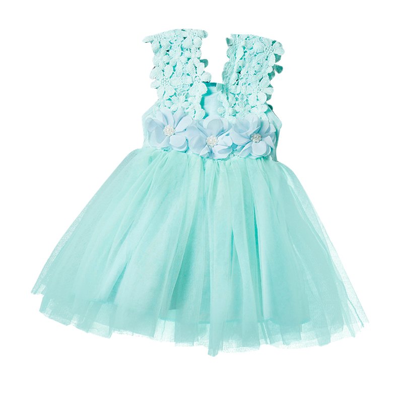 Infant Baby Clothes Sleeveless Dress with Flowers Summer Girls Baby Clothing Tulle Party Princess Dresses Children Daily Clothes new baby girls dress 2017 summer party dress sleeveless floral girls dresses princess chiffon children flowers clothes vestido