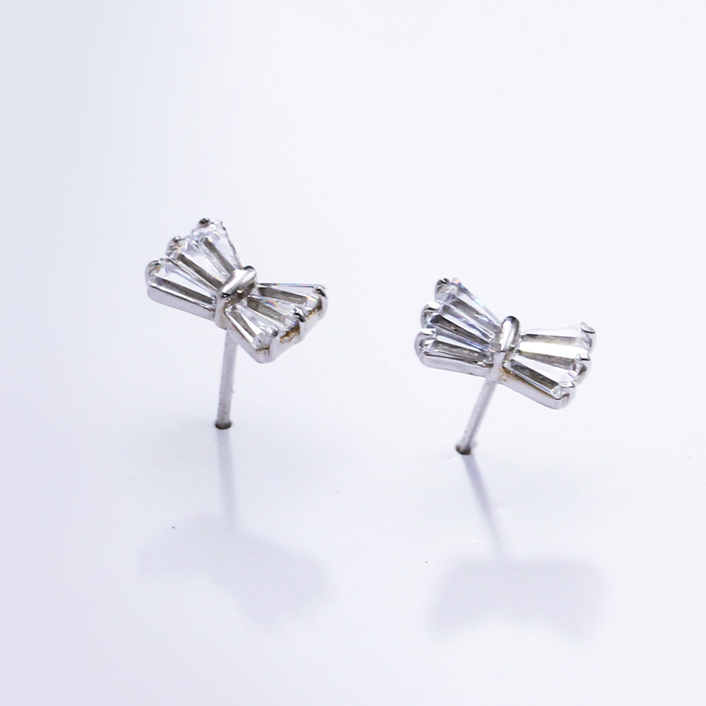 small bow silver earrings (4)